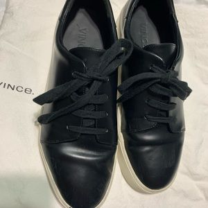 Vince black leather lace up sneakers size 8